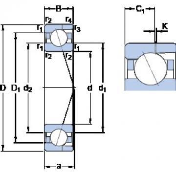 8 mm x 22 mm x 7 mm  SKF 708 CD/HCP4AH angular contact ball bearings
