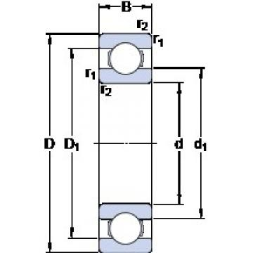 19.05 mm x 41.275 mm x 7.938 mm  SKF D/W R12 deep groove ball bearings