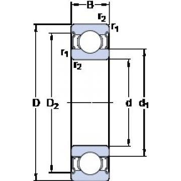 105 mm x 190 mm x 36 mm  SKF 6221-2RS1 deep groove ball bearings